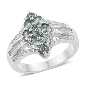 Montana Sapphire, White Topaz Platinum Over Sterling Silver Ring (Size 9.0) TGW 2.60 cts.