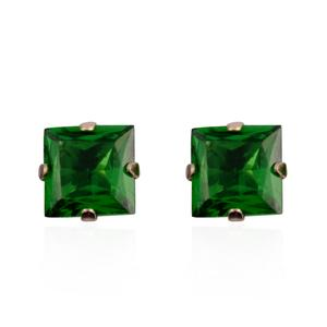 Simulated Green Sapphire 14K YG Over Sterling Silver Stud Earrings TGW 0.75 cts.