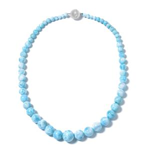Larimar Beads Sterling Silver Necklace (20 in) TGW 391.00 cts.