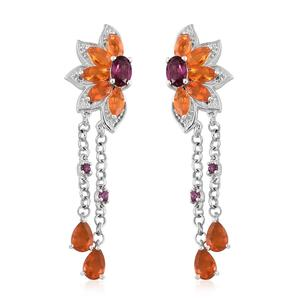 Jalisco Fire Opal, Orissa Rhodolite Garnet Platinum Over Sterling Silver Earrings TGW 4.03 cts.
