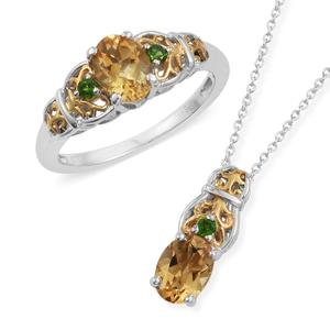 Brazilian Citrine, Russian Diopside 14K YG and Platinum Over Sterling Silver Ring (Size 9) and Pendant With Chain (20 in) TGW 2.60 cts.