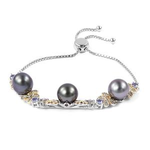 Tahitian Pearl (8.9 mm), Multi Gemstone 14K YG Over and Sterling Silver Bolo Bracelet (Adjustable) TGW 1.49 cts.