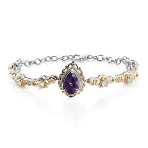 Moroccan Amethyst, Ethiopian Welo Opal 14K YG and Platinum Over Sterling Silver Bracelet (7.25 In) TGW 3.70 cts.