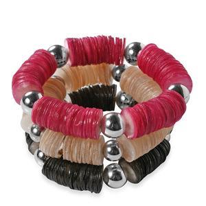 Set of 3 Handcrafted Multi Color Capiz Shell Bracelet