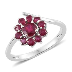 Niassa Ruby Platinum Over Sterling Silver Flower Bypass Ring (Size 6.0) TGW 1.75 cts.