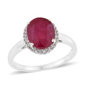 Niassa Ruby, Cambodian Zircon Platinum Over Sterling Silver Ring (Size 10.0) TGW 4.63 cts.