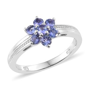 Premium AAA Tanzanite Platinum Over Sterling Silver Flower Ring (Size 5.0) TGW 0.77 cts.