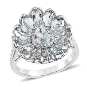 Espirito Santo Aquamarine Platinum Over Sterling Silver Flower Ring (Size 7.0) TGW 3.15 cts.