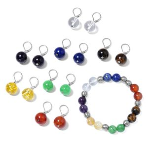 Set of 7 Multi Gemstone Stainless Steel Chakra Drop Earrings and Bracelet (Stretchable) TGW 388.00 cts.