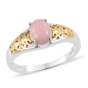 Peruvian Pink Opal Vermeil YG & Platinum Over Sterling Silver Ring (Size 7.0) TGW 1.00 cts.