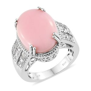 Peruvian Pink Opal, White Topaz Platinum Over Sterling Silver Ring (Size 7.0) TGW 14.00 cts.