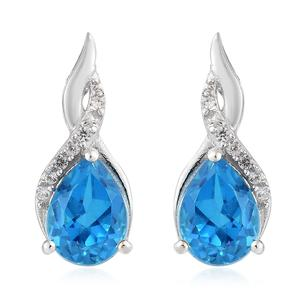 Caribbean Quartz, Cambodian Zircon Platinum Over Sterling Silver Drop Earrings TGW 2.80 cts.
