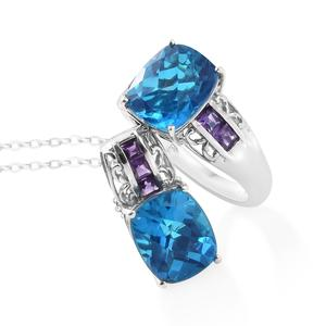 Caribbean Quartz, Amethyst Platinum Over Sterling Silver Ring (Size 8) and Pendant With Chain (20 in) TGW 11.87 cts.