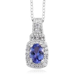 Premium AAA Tanzanite, Cambodian Zircon Platinum Over Sterling Silver Pendant With Chain (20 in) TGW 1.09 cts.