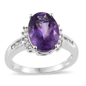 Moroccan Amethyst, Cambodian Zircon Platinum Over Sterling Silver Ring (Size 8.0) TGW 6.35 cts.