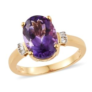 Moroccan Amethyst, Diamond Vermeil YG Over Sterling Silver Ring (Size 7.0) TDiaWt 0.05 cts, TGW 6.05 cts.