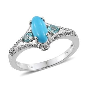 Arizona Sleeping Beauty Turquoise, Multi Gemstone Platinum Over Sterling Silver Ring (Size 7.0) TGW 1.88 cts.