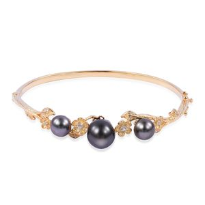 Tahitian Pearl (10-10.5 mm), White Zircon 14K YG Over Sterling Silver Bangle (8 in) TGW 0.28 cts.