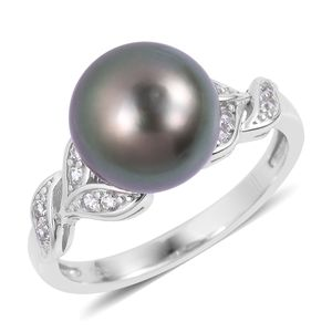 Tahitian Pearl (10-11 mm), White Zircon Sterling Silver Ring (Size 7.0) TGW 0.30 cts.