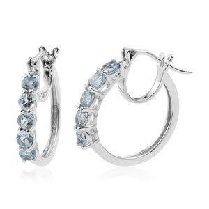 KARIS Collection - Sky Blue Topaz Platinum Bond Brass Hoop Earrings TGW 2.00 cts.