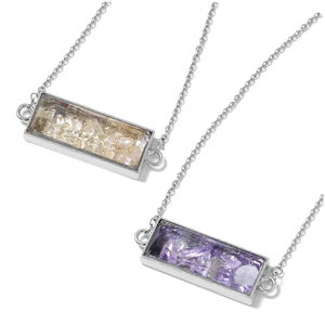 Set of 2 Amethyst, Brazilian Citrine Stainless Steel Pendants With Chain (26 in) TGW 20.00 cts.