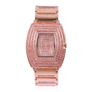 GENOA Pink Austrian Crystal Miyota Japanese Movement Water Resistant Watch with Rosetone Strap and Stainless Steel Back