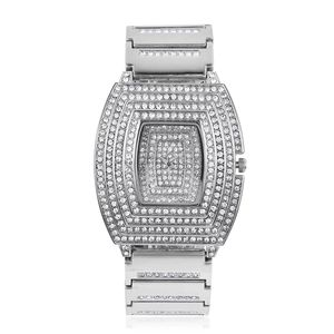 GENOA Austrian Crystal Miyota Japanese Movement Water Resistant Watch with Silvertone Strap and Stainless Steel Back