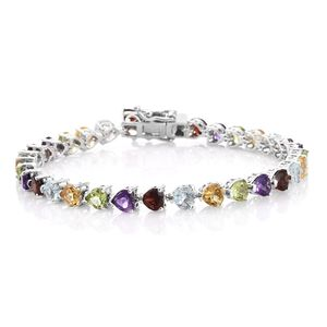 TLV Multi Gemstone Platinum Over Sterling Silver Bracelet (7.25 In) TGW 13.60 cts.