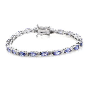 Tanzanite, Cambodian Zircon Platinum Over Sterling Silver Station Bracelet (6.50 In) TGW 6.25 cts.