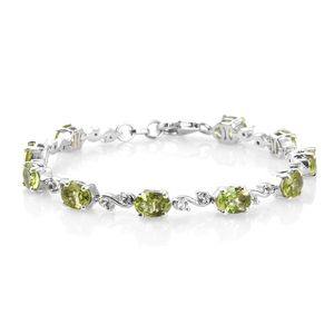 July 4th DOORBUSTER Hebei Peridot, White Topaz Platinum Over Sterling Silver Bracelet (6.50 In) TGW 8.30 cts.