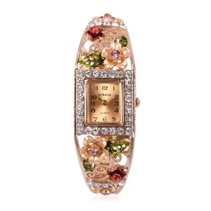 STRADA White and Peach Austrian Crystal Japanese Movement Goldtone Bangle Enameled Watch with Stainless Steel Back