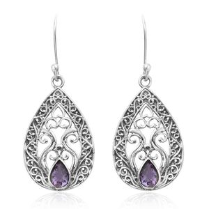 Rose De France Amethyst Sterling Silver Earrings TGW 0.61 cts.