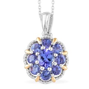 Premium AAA Tanzanite Vermeil YG and Platinum Over Sterling Silver Floral Pendant With Chain (20 in) TGW 1.90 cts.