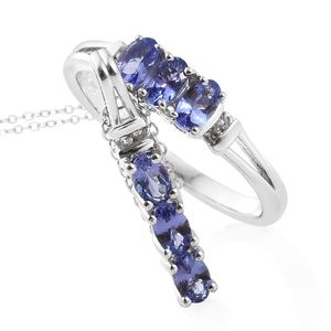 Premium AAA Tanzanite, Cambodian Zircon Platinum Over Sterling Silver Ring (Size 7) and Pendant With Chain (20 in) TGW 1.68 cts.