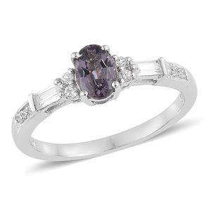 Luxury For Less Lavender Spinel, Cambodian Zircon Platinum Over Sterling Silver Ring (Size 8.0) TGW 1.40 cts.