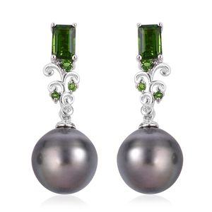 Tahitian Pearl (11-12 mm), Multi Gemstone Sterling Silver Drop Earrings TGW 1.54 cts.