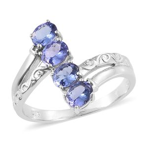 Premium AAA Tanzanite Platinum Over Sterling Silver 4 Stone Bypass Ring (Size 5.0) TGW 1.50 cts.