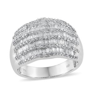 Diamond Platinum Over Sterling Silver Ring (Size 6.0) TDiaWt 1.50 cts, TGW 1.50 cts.