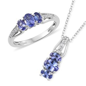 Premium AAA Tanzanite, Cambodian Zircon Platinum Over Sterling Silver Ring (Size 5) and Pendant With Chain (20 in) TGW 2.12 cts.
