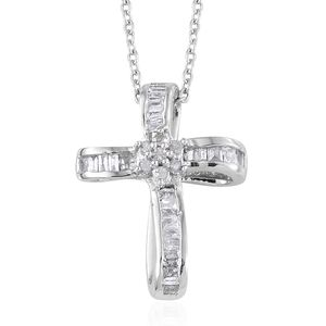 Diamond Platinum Over Sterling Silver Cross Pendant With Chain (20 in) TDiaWt 0.20 cts, TGW 0.20 cts.