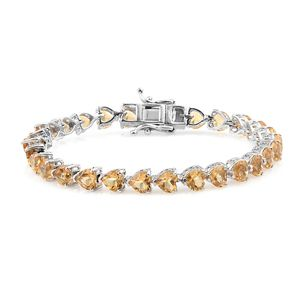TLV Brazilian Citrine Platinum Over Sterling Silver Bracelet (6.75 In) TGW 13.23 cts.