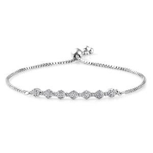 Diamond Platinum Over Sterling Silver Bolo Bracelet (Adjustable) TDiaWt 0.50 cts, TGW 0.50 cts.