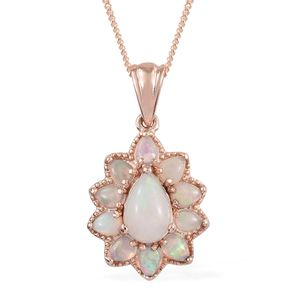 Doorbuster Ethiopian Welo Opal Vermeil RG Over Sterling Silver Pendant With Chain (20 in) TGW 1.65 cts.