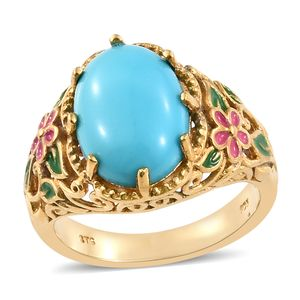 Arizona Sleeping Beauty Turquoise Vermeil YG Over Sterling Silver Ring (Size 7.0) TGW 4.50 cts.