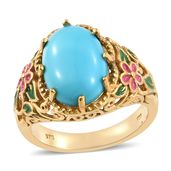Arizona Sleeping Beauty Turquoise Vermeil YG Over Sterling Silver Ring (Size 8.0) TGW 4.50 cts.