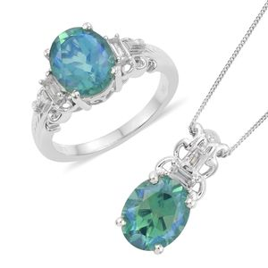 Peacock Quartz, White Topaz Platinum Over Sterling Silver Ring (Size 10) and Pendant With Chain (20 in) TGW 8.79 cts.