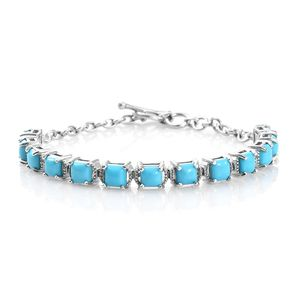 Arizona Sleeping Beauty Turquoise Platinum Over Sterling Silver Bracelet (7.25 In) TGW 6.54 cts.