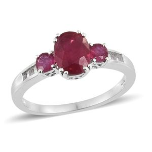 Niassa Ruby, White Topaz Platinum Over Sterling Silver Ring (Size 9.0) TGW 3.58 cts.