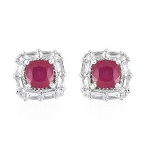 Niassa Ruby, White Topaz Platinum Over Sterling Silver Stud Earrings TGW 3.96 cts.