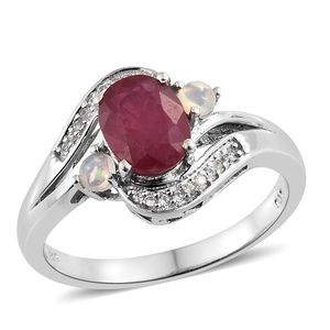 Niassa Ruby, Multi Gemstone Platinum Over Sterling Silver Ring (Size 7.0) TGW 3.06 cts.